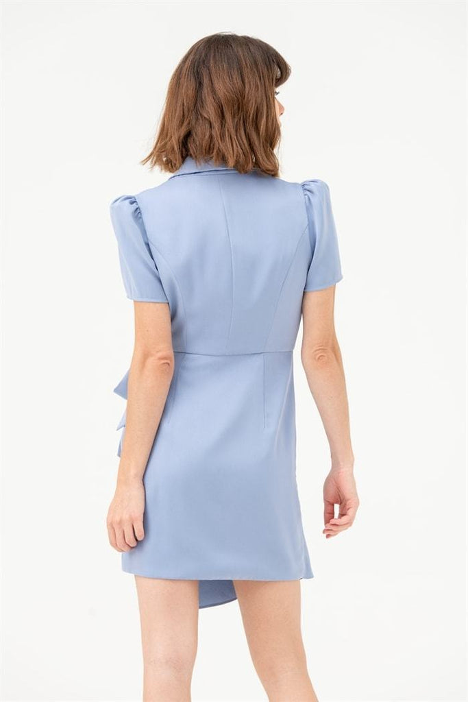 Blazer Mini Dress with Tie Wrap in Blue - Liena