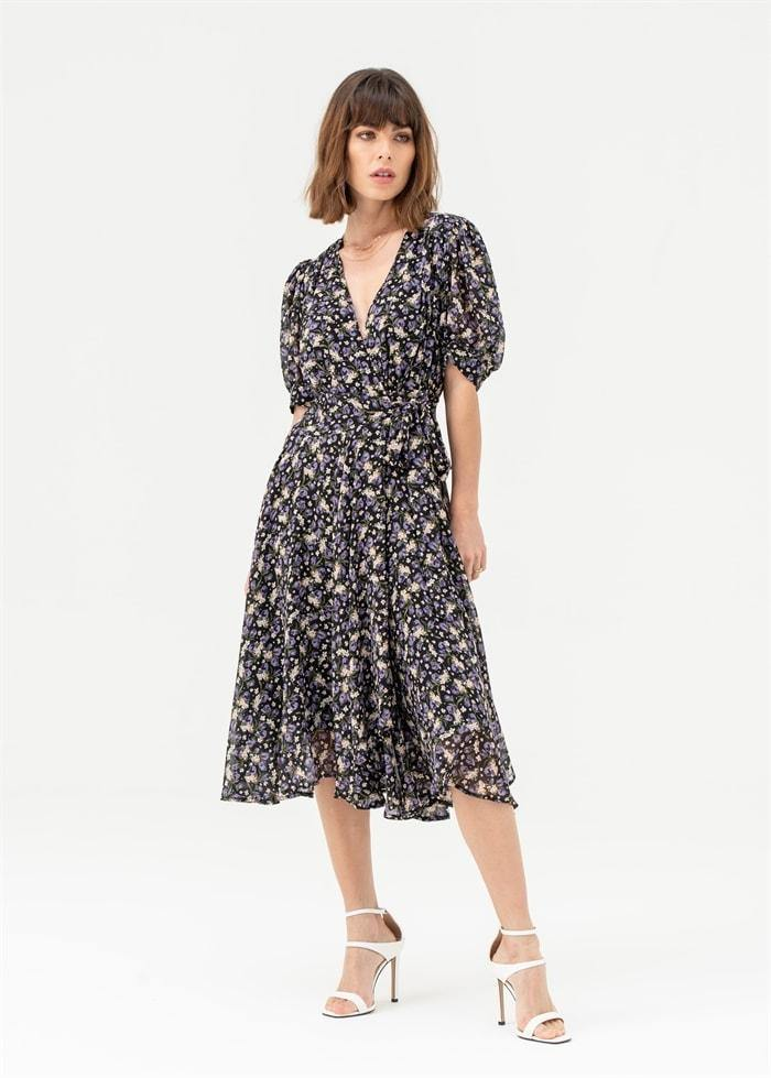 Short Sleeve Wrap Midi Dress in Black Floral - Liena