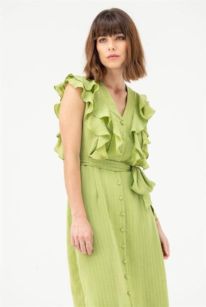 V Neck Frill Midi Dress in Green - Liena