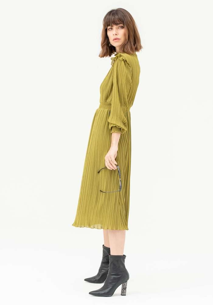 Long Sleeve Pleated Midi Dress in Olive - Liena