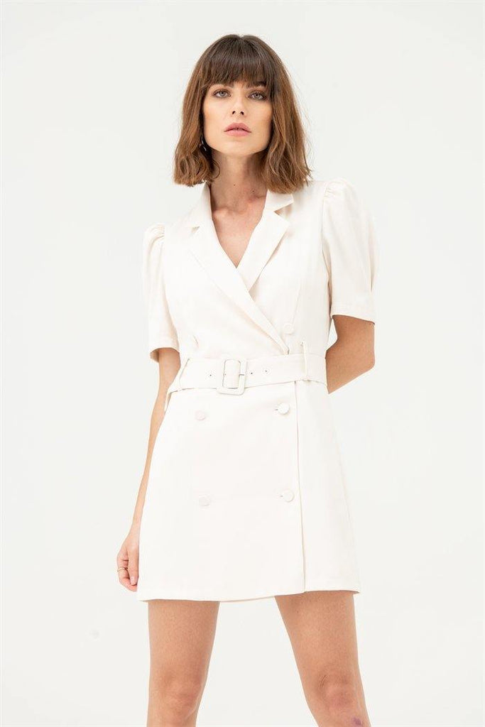 Blazer Dress with Short Sleeves in White - Liena