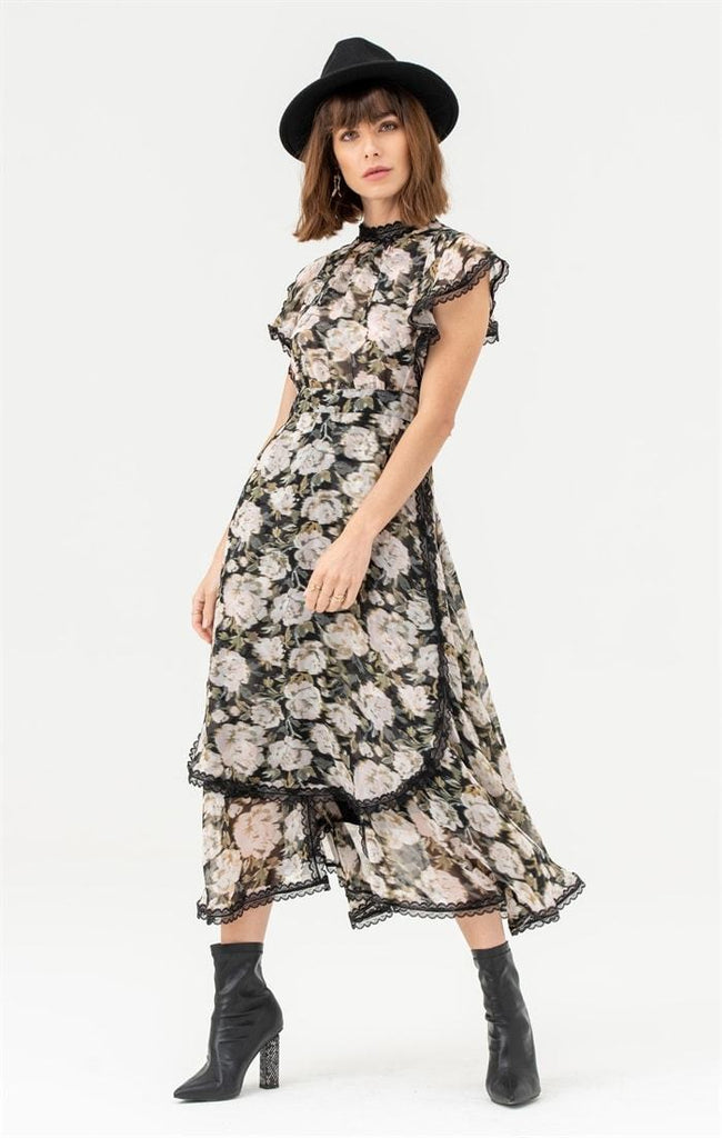 High Neck Lace Trim Midi Dress in Multi Floral - Liena