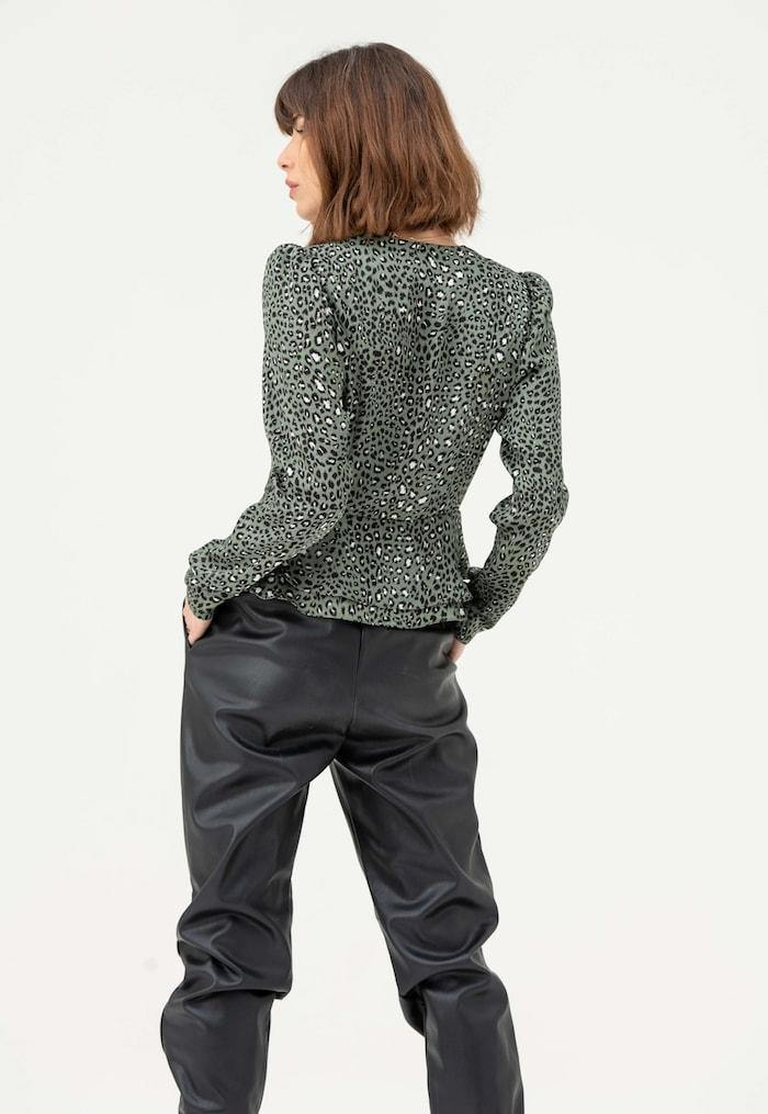 Long Sleeve Wrap Blouse in Green Leopard - Liena