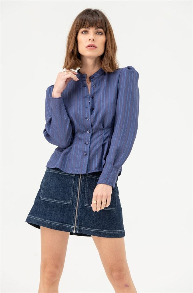 Round Neck Blouse in Indigo Blue Stripe - Liena