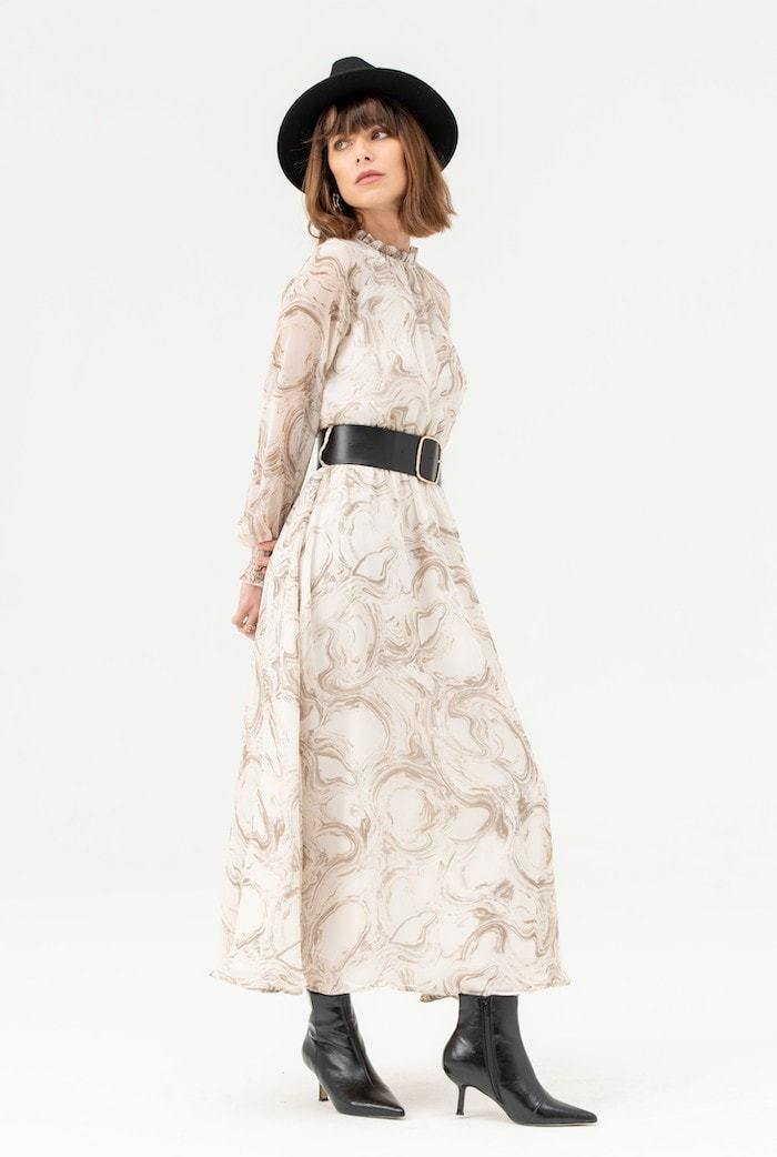 Belted High Neck Midi Dress in White Print