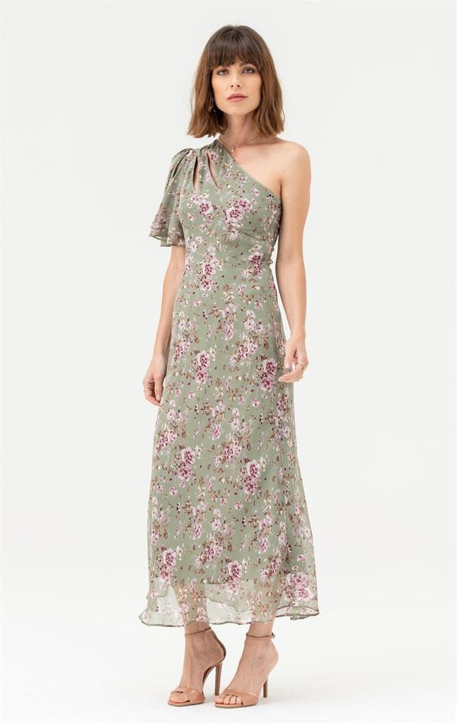 One Shoulder Midi Dress in Green Pink Floral - Liena