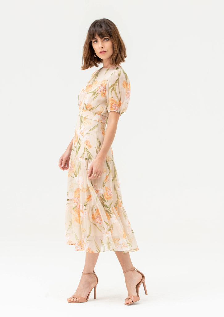 Round Neck Short Sleeve Midi Dress in Nude Floral - Liena