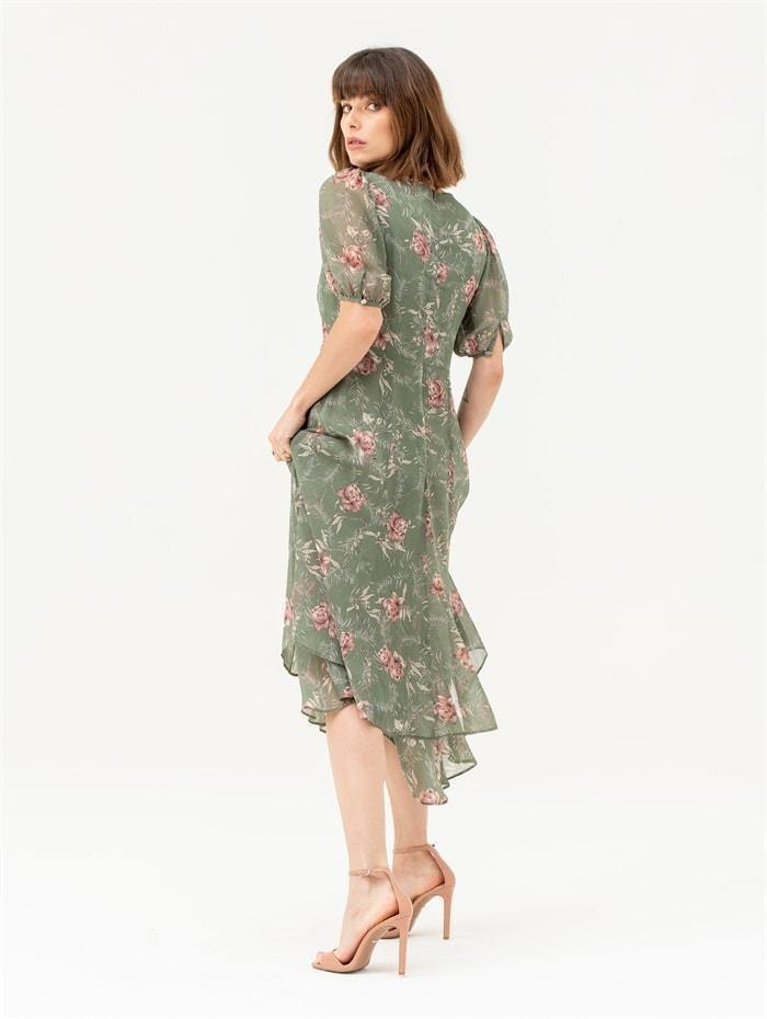 Short Sleeve Tiered Skirt Midi Dress in Green Floral - Liena