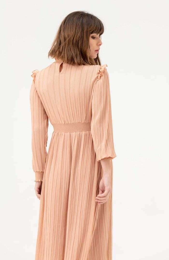 Long Sleeve Pleated Midi Dress in Nude - Liena