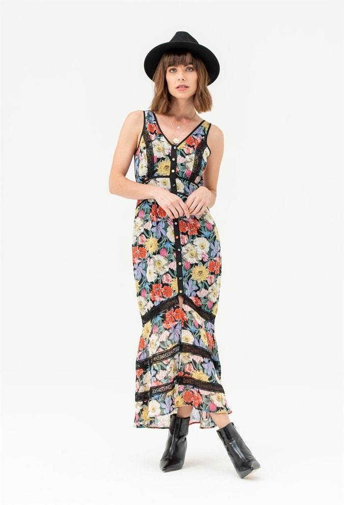 Sleeveless Midi Dress in Multi Floral Black Lace - Liena