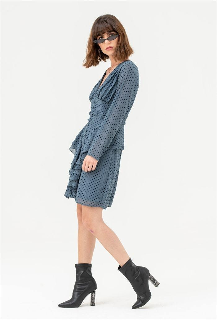 Long Sleeve Frill Mini Dress in Blue Polka Dot - Liena