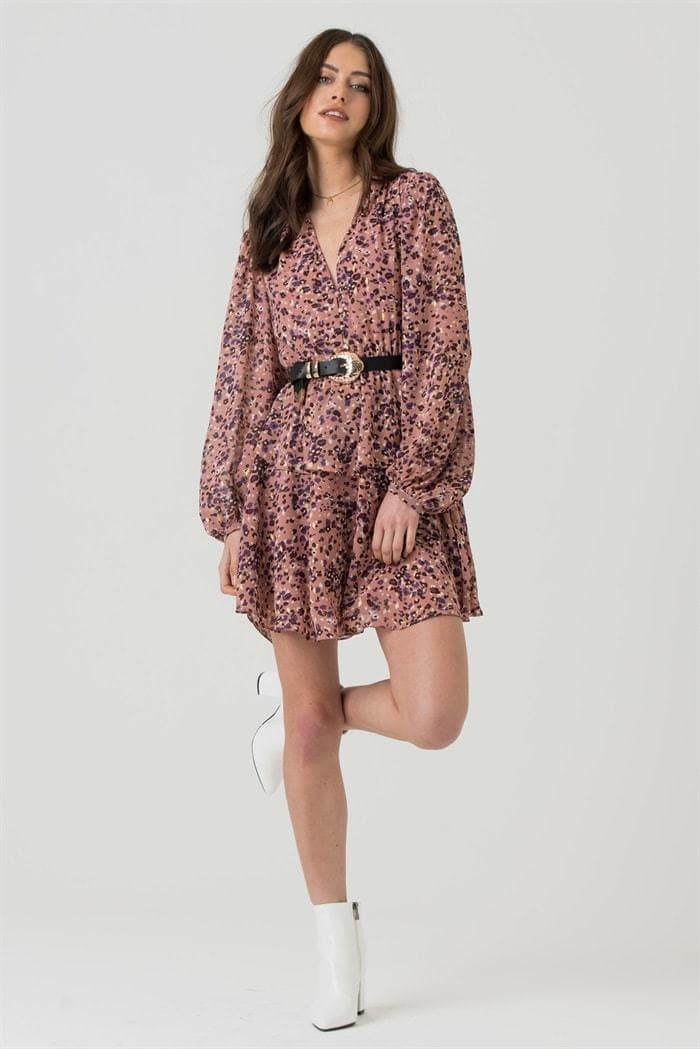 V-Neck Mini Dress in Pink Gold Leopard - Liena