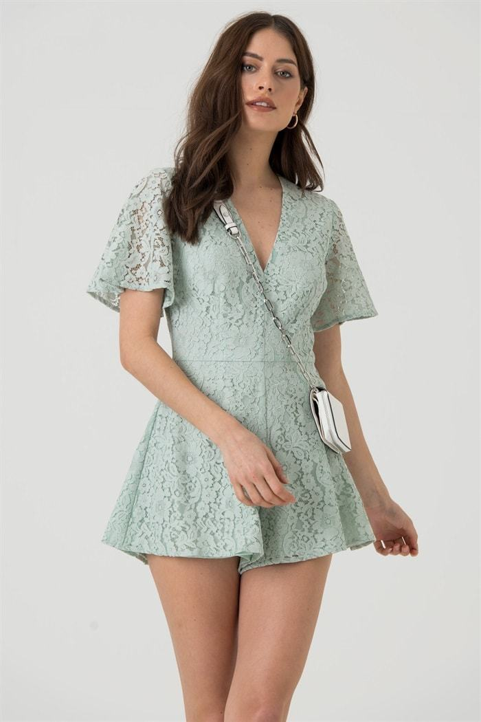 Lace V Neck Playsuit in Mint