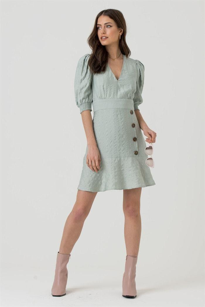 V-neck Button Skirt Mini Dress in Mint Green - Liena