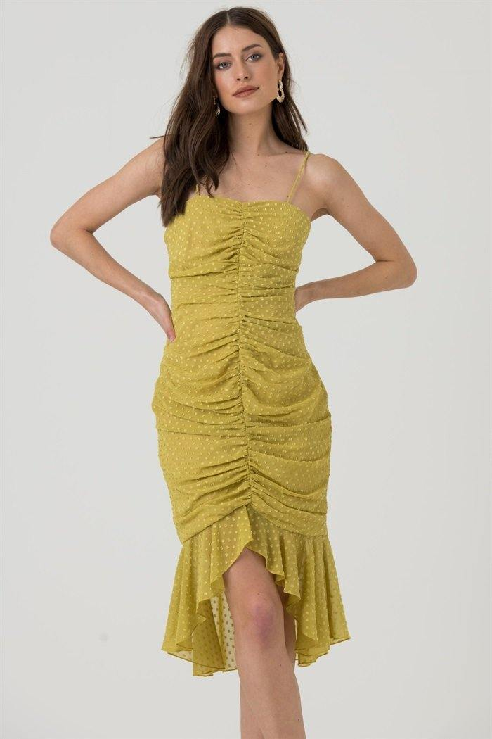 Fishtail Dobby Spot Midi Dress in Olive