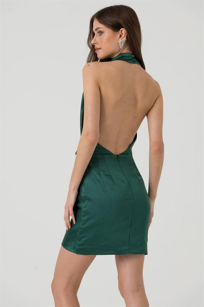 Green Satin Halter Neck Mini Dress with Open Back