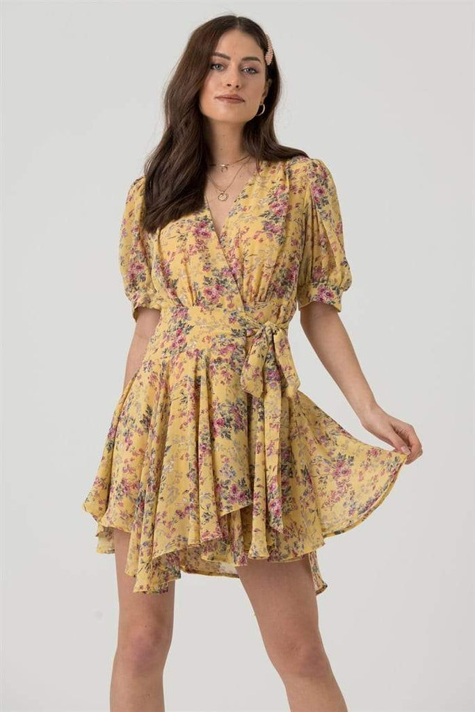 Short Sleeve Mini Wrap Dress in Yellow Pink Floral - Liena