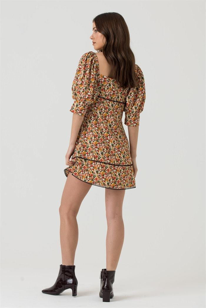 Square Neck Puff Sleeve Mini Dress In Multi Floral - Liena