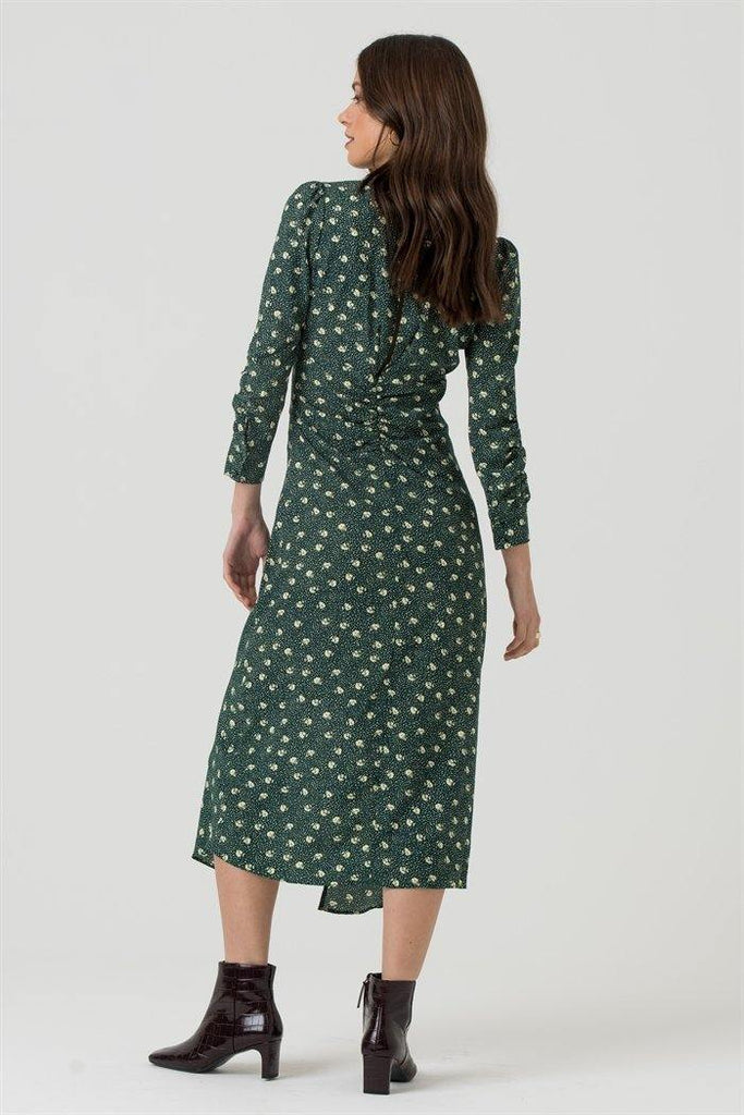 Ruched V Neck Midi Dress in Green Floral - Liena