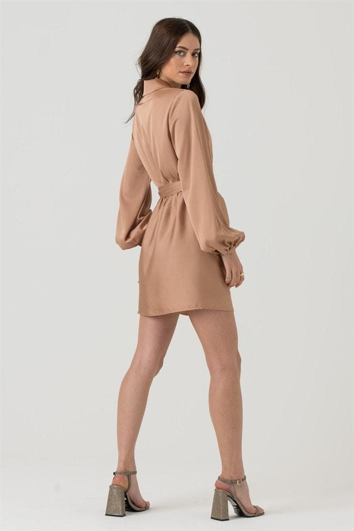 Draped Satin Wrap Mini Dress in Champagne - Liena