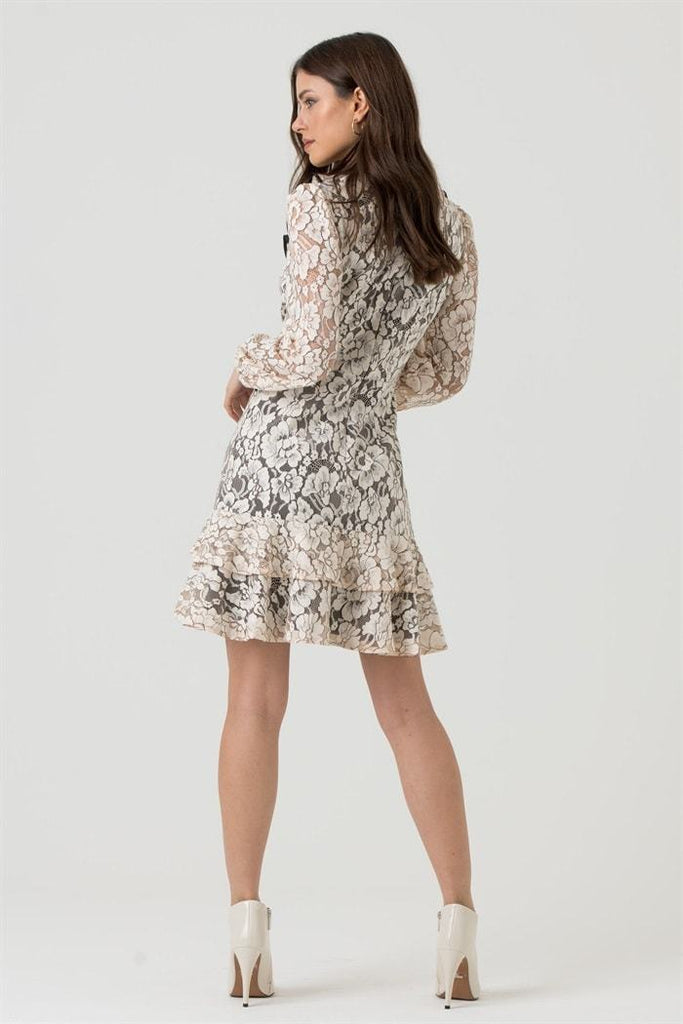 Nude Floral Lace Frill Long Sleeve Mini Dress - Liena