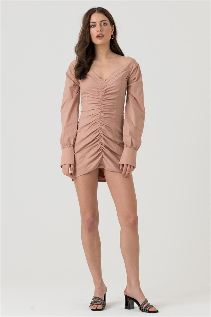 Cotton Poplin Bardot Mini Dress With Ruched Detail in Nude