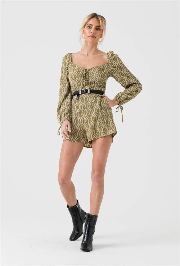 Long Sleeve Playsuit In Green Tribal Print - Liena