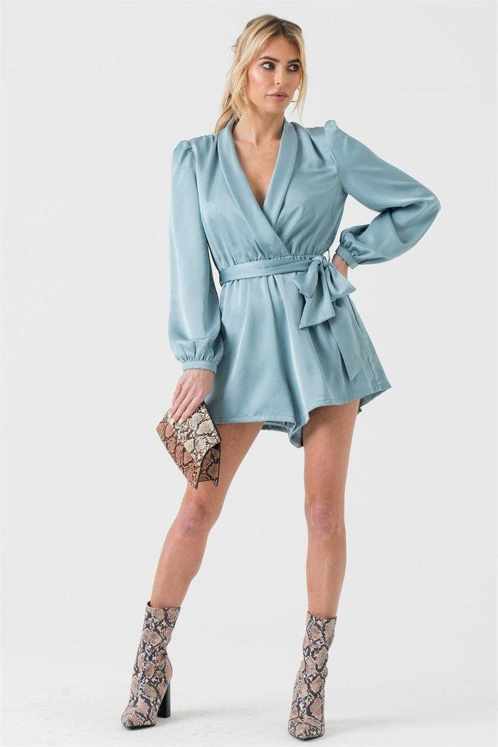 Satin Wrap Playsuit with Tie in Duck Egg Blue - Liena