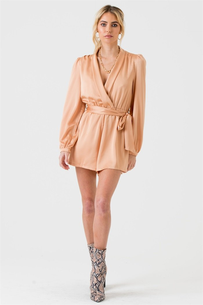 Satin Wrap Playsuit with Tie in Champagne - Liena