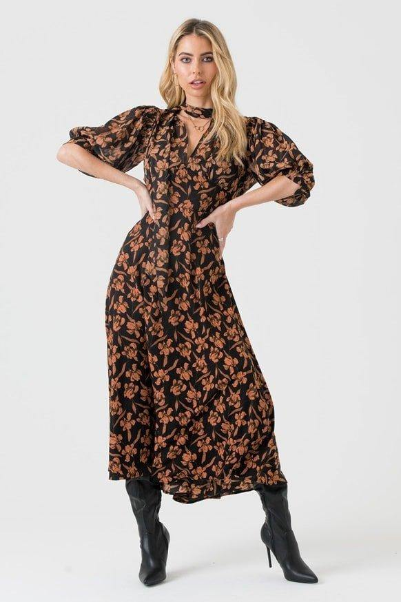 Pussy Bow Midi Dress In Black Peach Floral Print