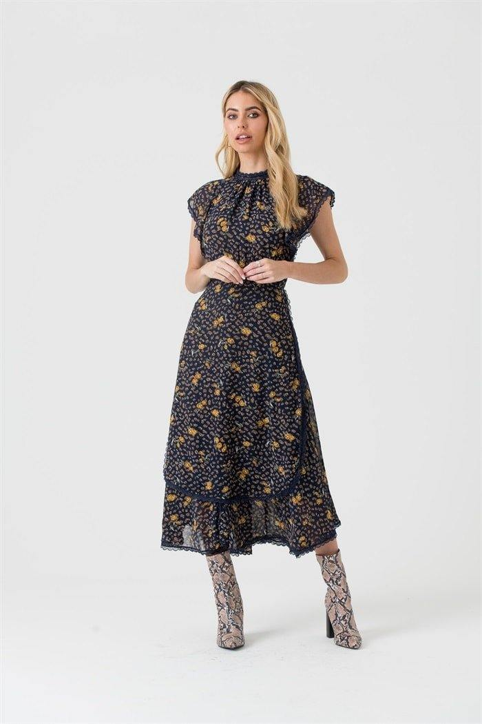 Lace Trim Midi Dress in Navy Floral - Liena