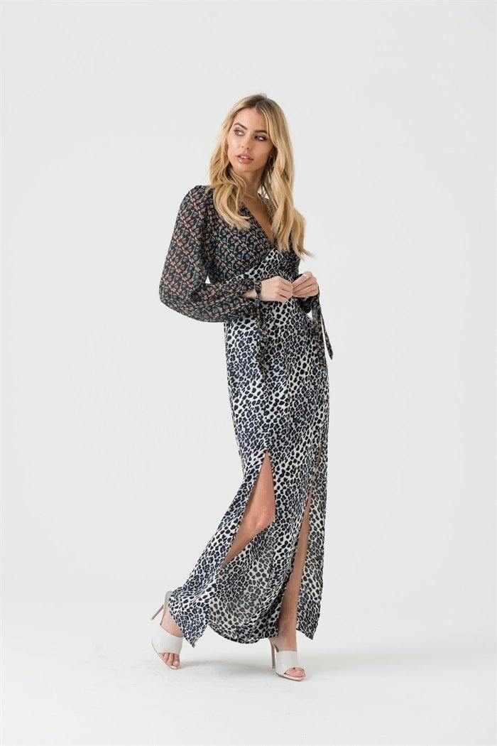 Mixed Print Maxi Dress With Split Detail in Grey Leopard - Liena