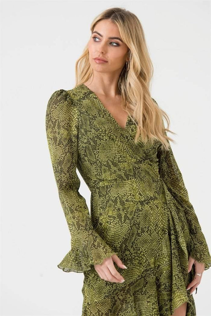 Green Snakeskin Midi Wrap Dress - Liena