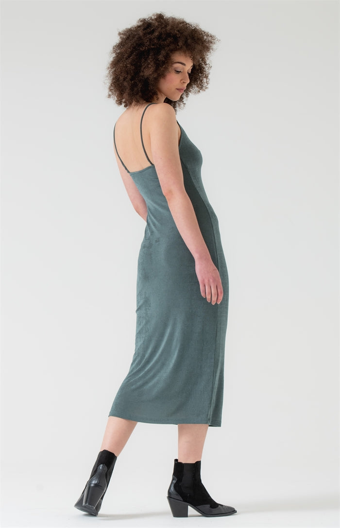 Square Neck Knit Midi Dress in Sage