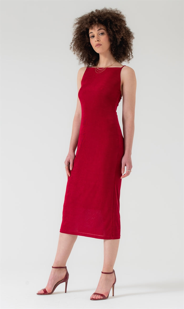 Square Neck Knit Midi Dress in Burgundy