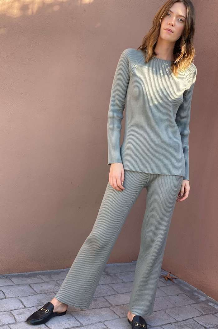 Ribbed Knit Trousers in Sage