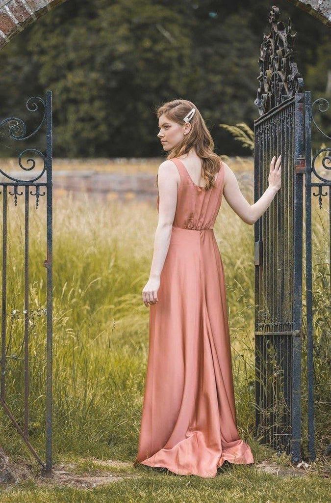 The Knightley, Button Front Maxi Dress in Rust - Liena