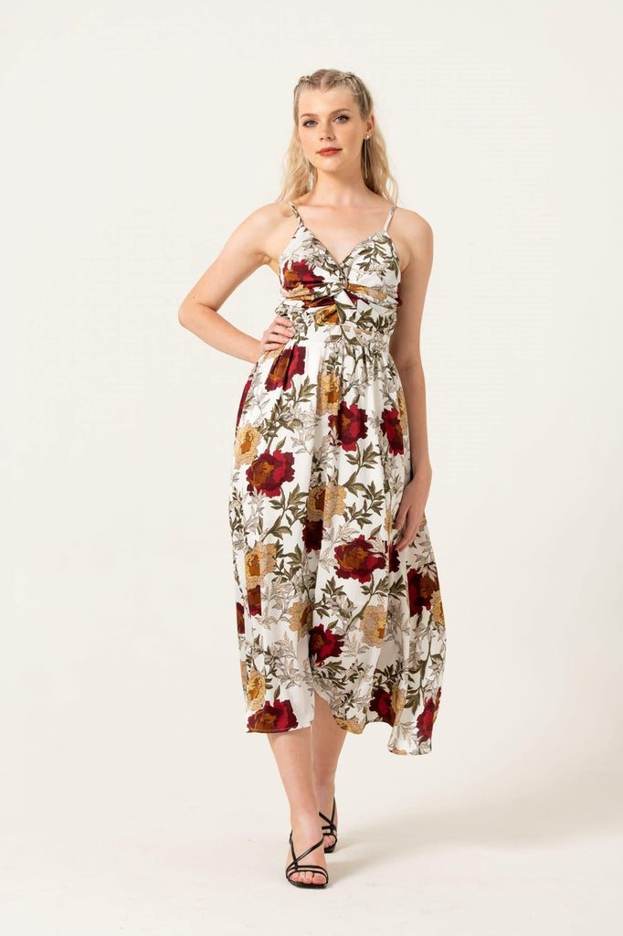 Cami Twist Front Midi Dress in Autumn Floral Print - Liena