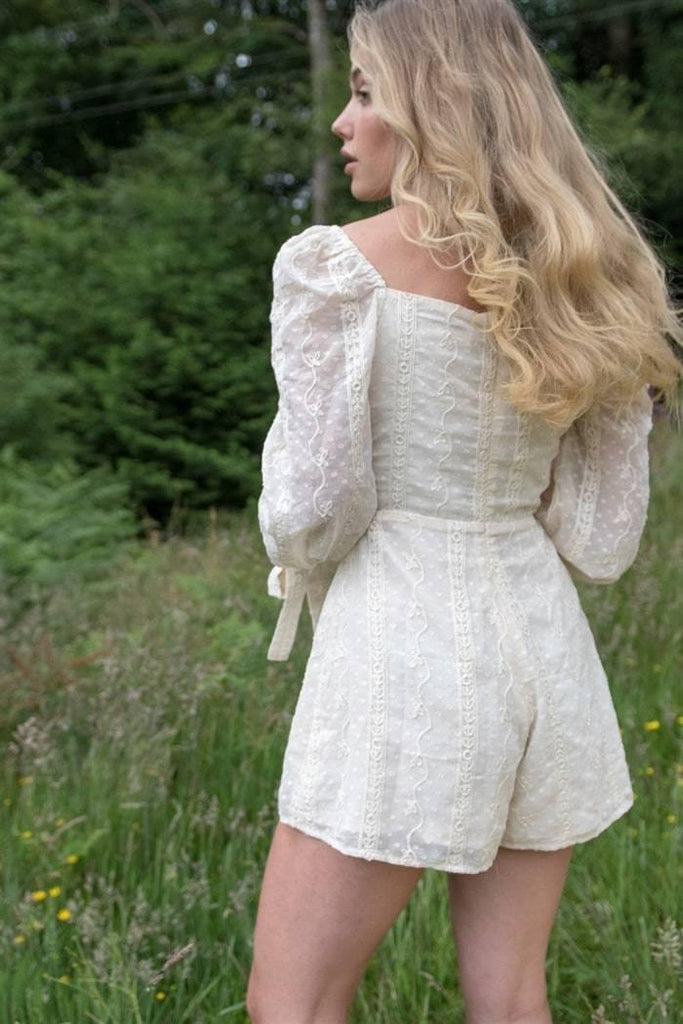 Square Neck Playsuit in Cream Lace - Liena