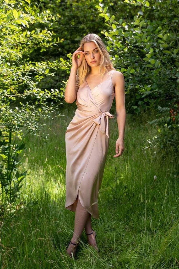 Tie Side Cami Wrap Dress in Nude - Liena