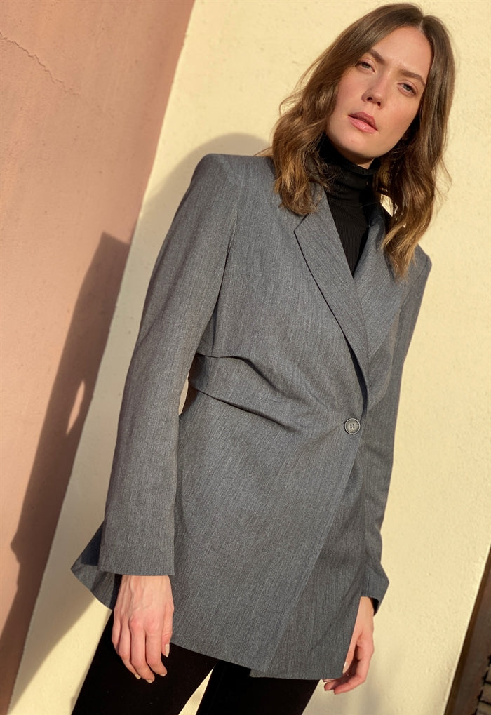 Oversized Longline Blazer in Grey