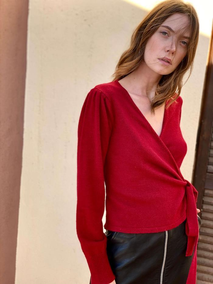 Wrap Jumper in Red