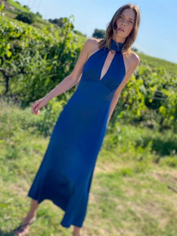 Cut-out Satin Halterneck Midi Dress in Navy
