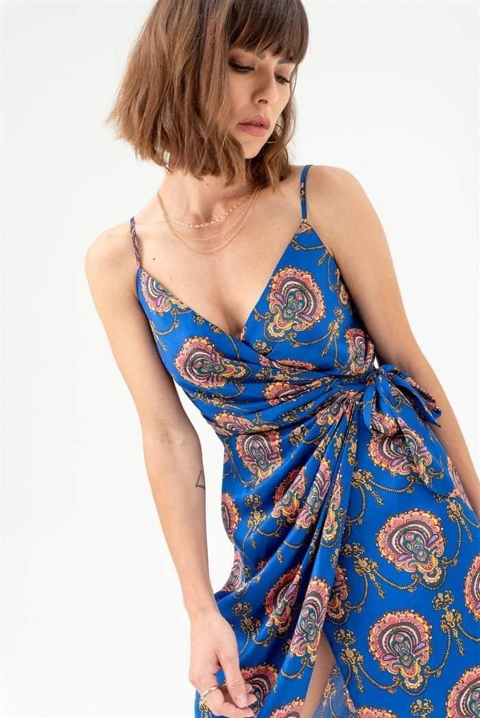 Tie Side Cami Midi Dress in Blue Paisley - Liena