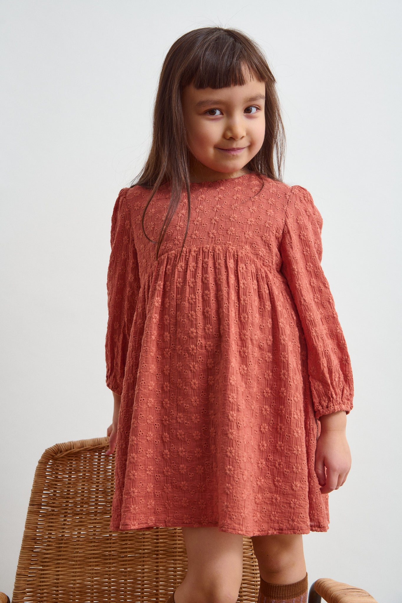 Little Liena Girls Broderie Dress in Orange