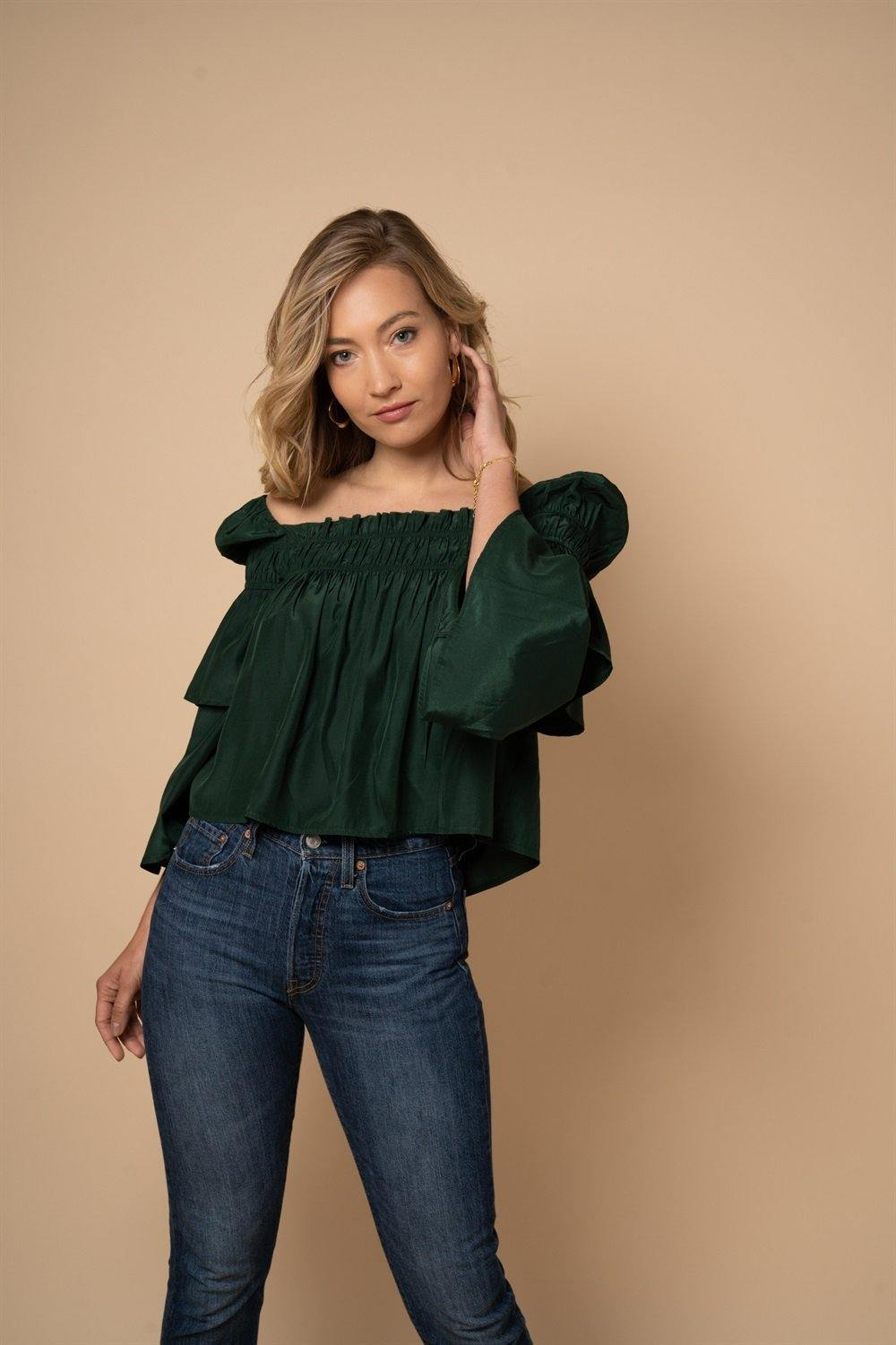 Square Neck Pleated Blouse in Green - Liena