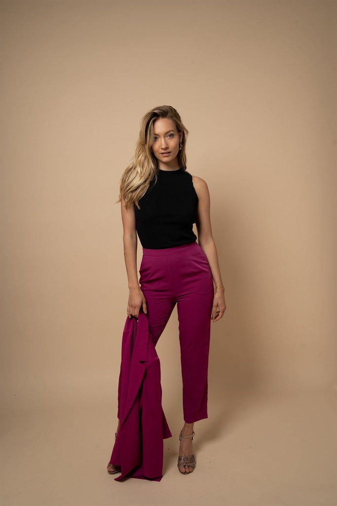 Straight Leg High Waisted Trousers in Fuchsia - Liena