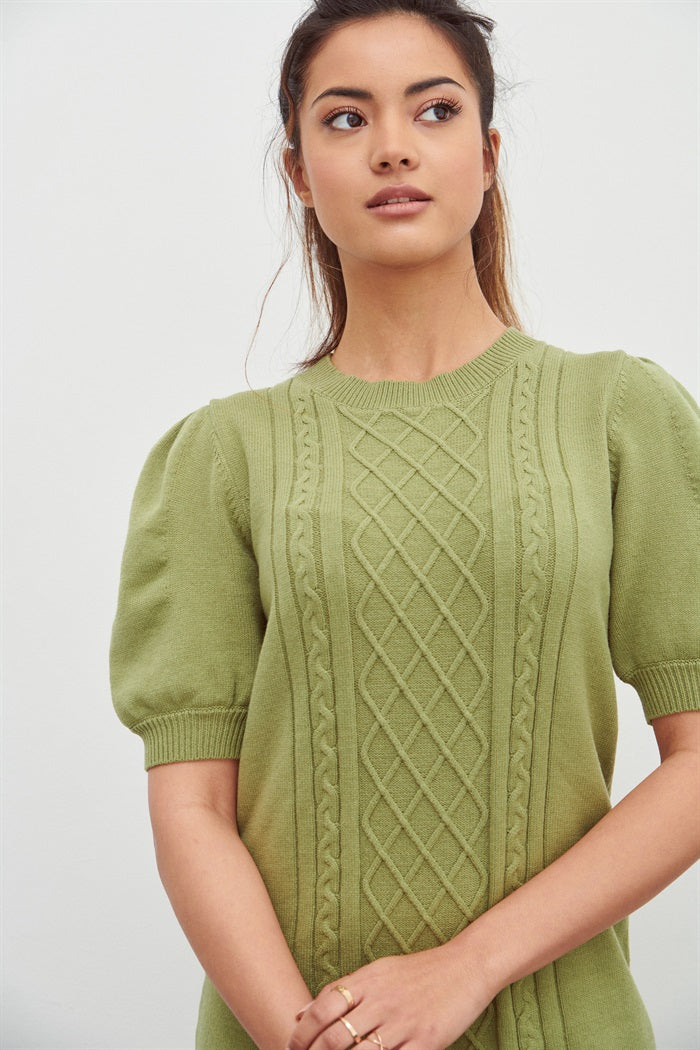 Cable Knit Dress in Sage