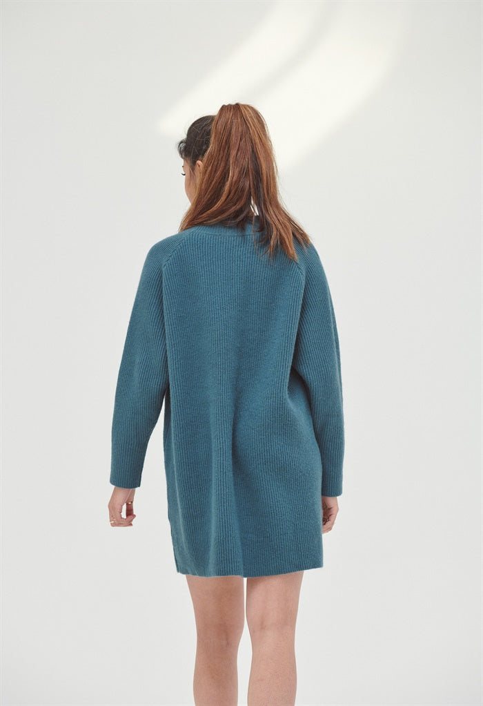 Crew Neck Knitted Mini Dress in Blue