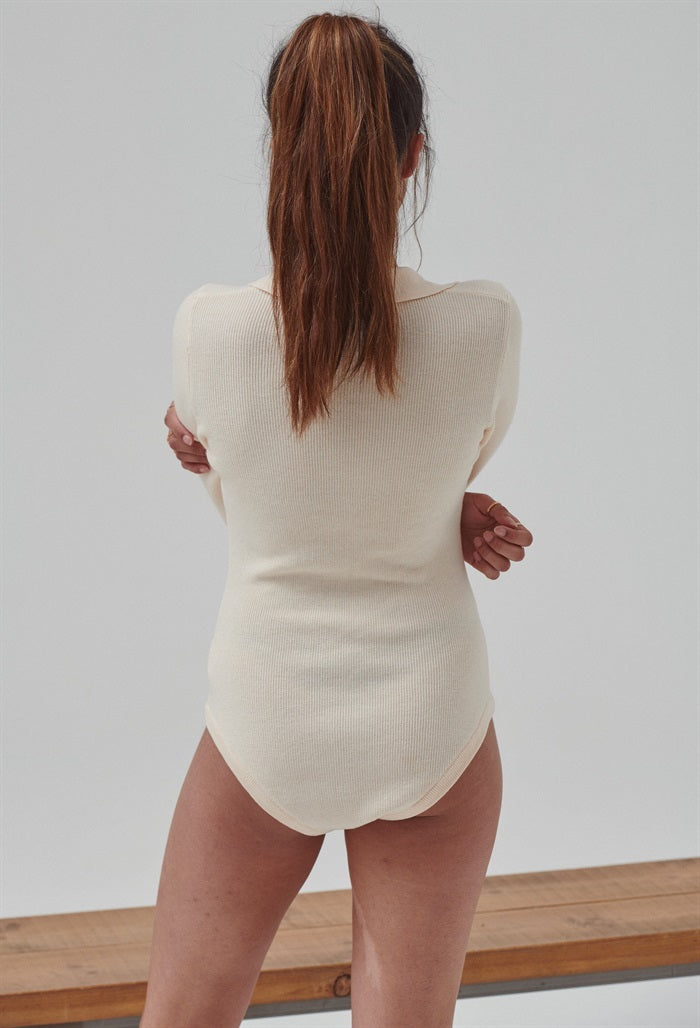 Knit Bodysuit in Beige